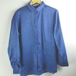 NWT Blue Button Up Blouse Sz L